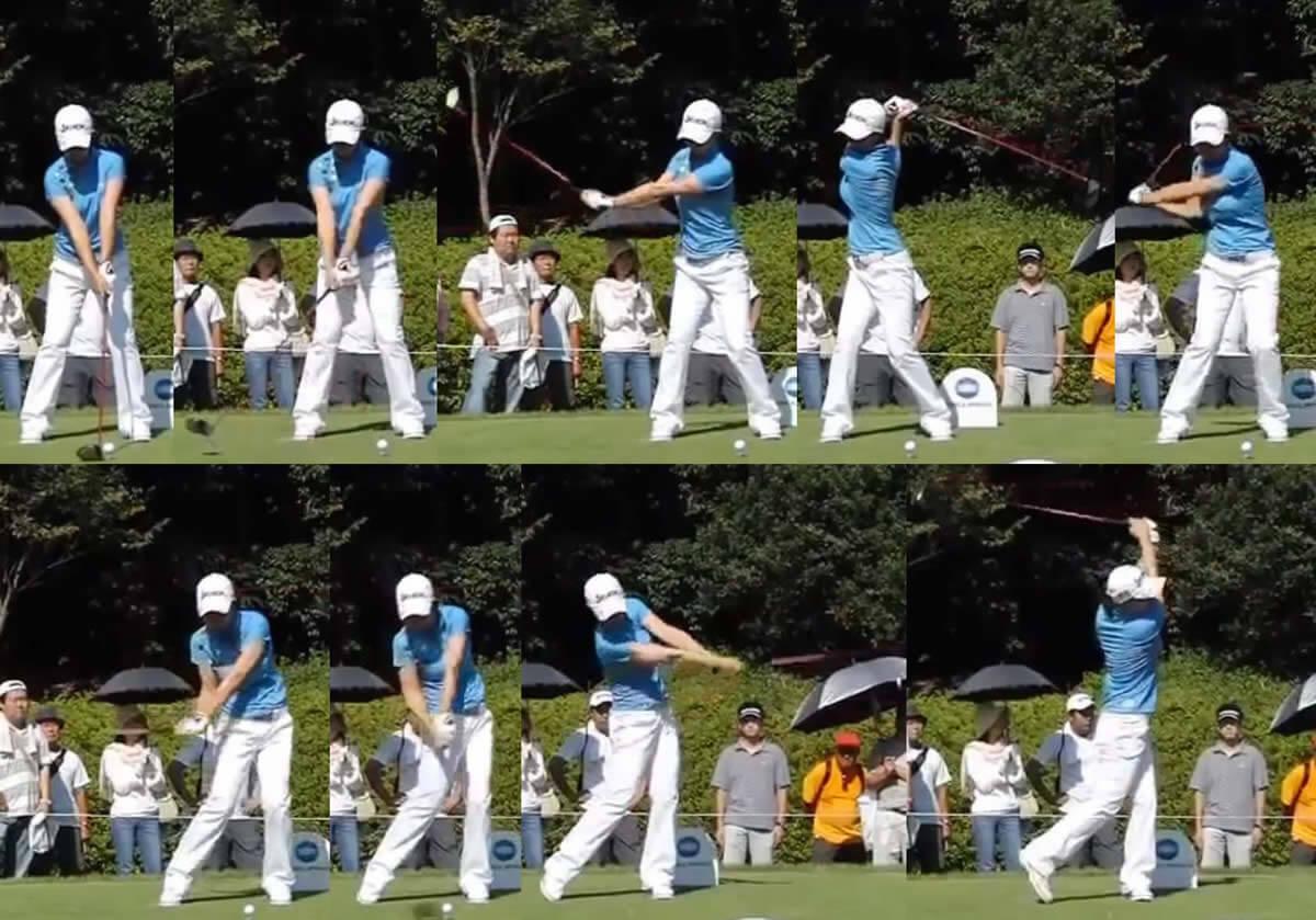 ゴルフのスイング横